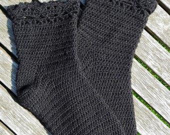 Hand crocheted wool socks