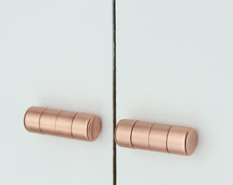 Modern Copper Ridged Knob. Contemporary Drawer Pull, Handle, Cabinet knob. Kitchen Cabinet knob. Kitchen Door Handle-copper knob-copper