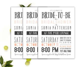 Bridal Shower Invitations // Wedding Shower Invites // Typography invitations // 5x7 Printable Bridal Shower Invitation // The Sonia