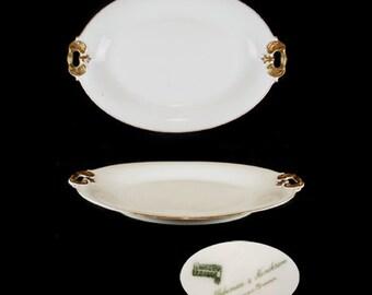 Antique Limoges Blakeman and Henderson Oval White Handled Serving Platter