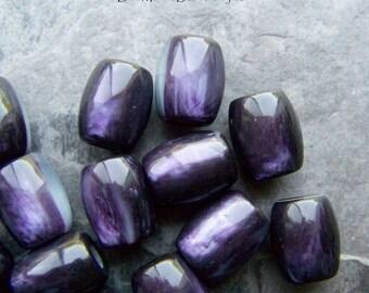 Barrel Bead, Purple Bead, Vintage Bead, Lucite Bead, Oval Bead, Luminous, Marble Bead, Big Hole Bead, Boho Jewelry Supplies, Unique Bead, 6