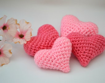 Crocheted Hearts and Garland