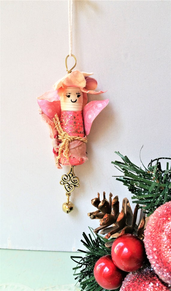 Mixed Media Angel Ornaments - Art Doll Ornaments - Christmas Tree Decorations - Ornaments for Girls