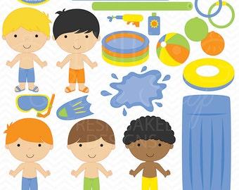 pool party digital clipart clip art boys beach sun - Pool Party Boys Clipart - BUY 2 GET 2 FREE