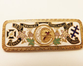1913 32nd Triennial Denver Conclave Pin Nights of Templar Vintage Pin