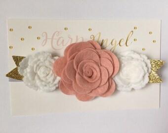 Peach Blush Pink & White Wool Felt Flower Crown Headband Newborn / Baby / Toddler / Girls / Adult