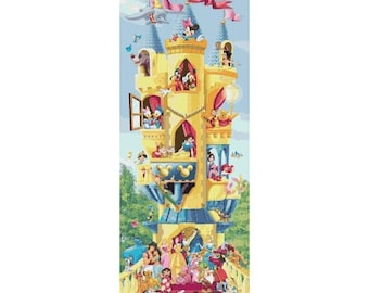 "Disney castle Cross Stitch Disney castle pattern needlepoint, needlecraft - 11.79"" x 33.50"" - L1665"