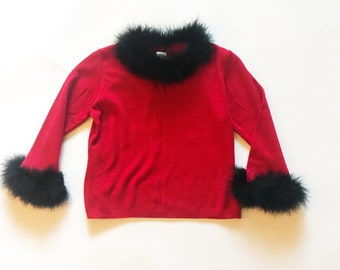 Vintage 90s Red Feather Trimmed Cropped Sweater S
