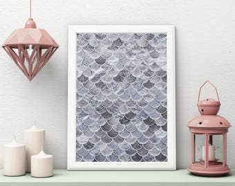 Silver Mermaid Art, Silver Mermaid Poster Print, Mermaid Scales, Art Print, Mermaid Wall Art, Mermaid Decor, Wall Decor, Gift for Her