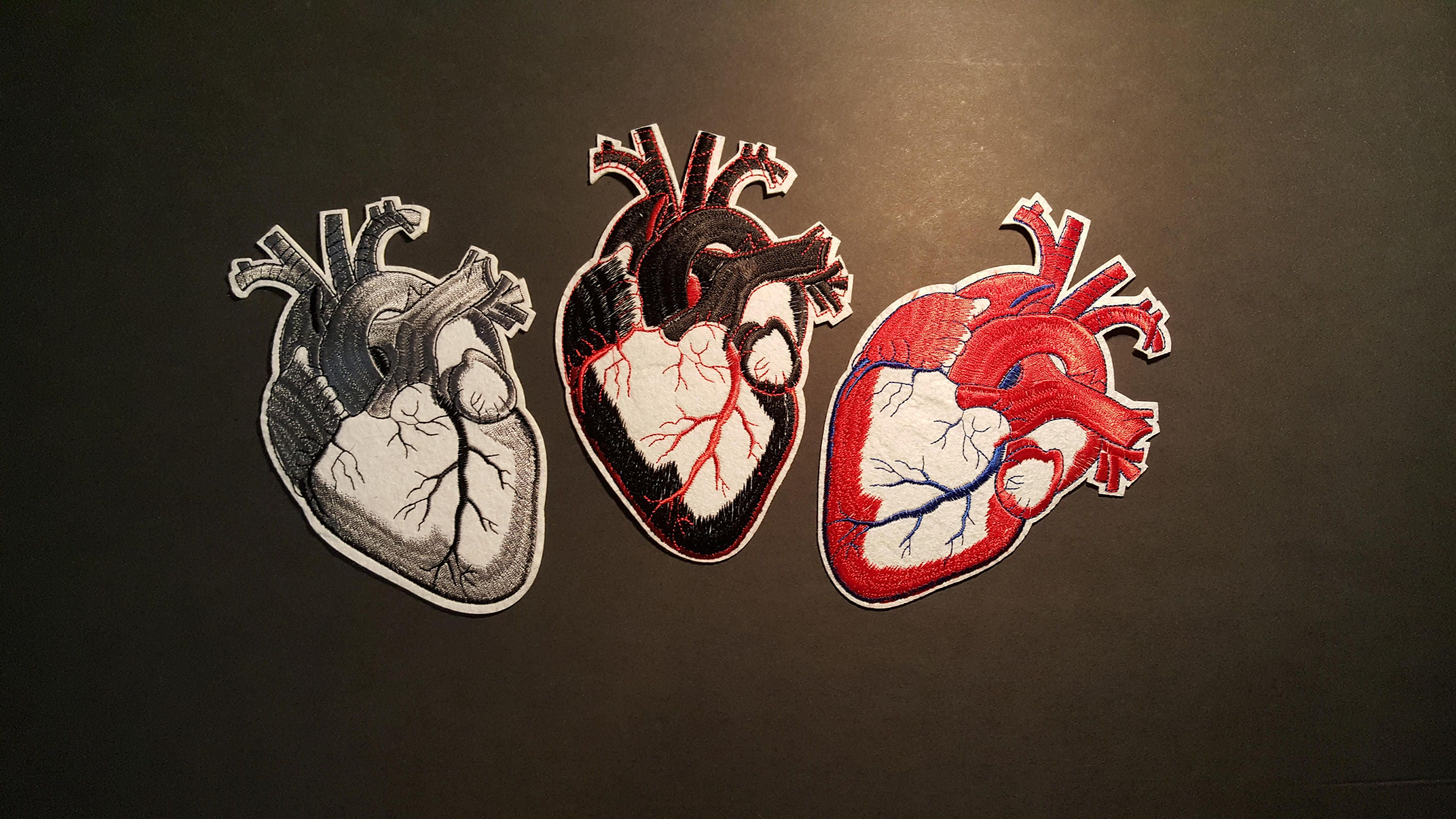 1x Large Gray\'s Anatomy Heart Iron On Patch