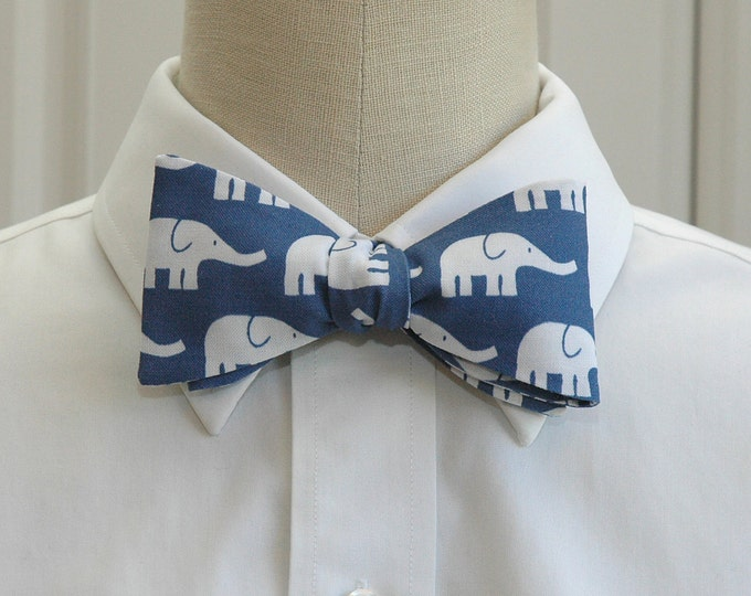 Men's Bow Tie, blue with white elephants, zoo wedding bow tie, elephant lover gift, elephant bow tie, groomsmen gift, cute elephant bow tie