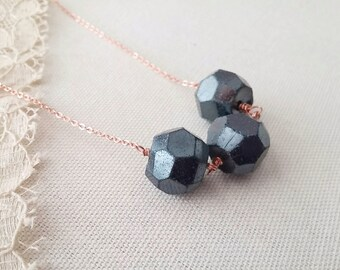 Minimalist Beaded Necklace Chunky Czech Glass - Coal.