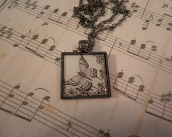 Black and White Butterfly Photo Necklace