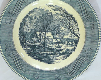 Royal China Company Dinner Plates- The Old Grist Mill Blue