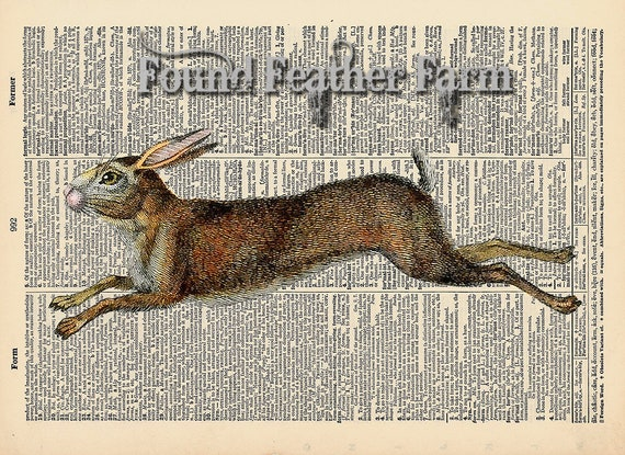 """Vintage Antique Dictionary Page with Antique Print """"Running Rabbit Horizontal"""""""