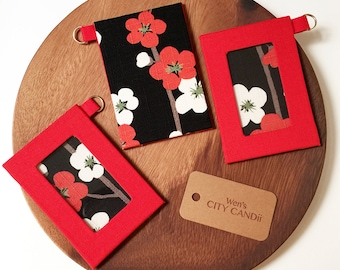 ID Badge Holder / Metro Card Holder - Red Plum Blossom