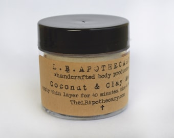 Organic Coconut & Clay Mask / Face Mask / Oatmeal Mask / Acne Mask / Clay Mask /  Bentonite Clay / Coconut Milk Birthday Gift