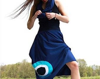 Loose, casual skirt, midi skirt, orginail skirt, asymetrical skirt, cotton skirt