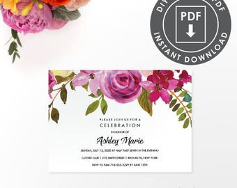 EDITABLE Bat Mitzvah INVITATION | Instant Download Party Invitation | Printable Template | Floral Bat Mitzvah Invite | Editable DIY | 002