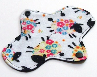 7 inch Reusable Cloth winged ULTRATHIN Pantyliner - Cotton flannel top - Rainbow Ewe