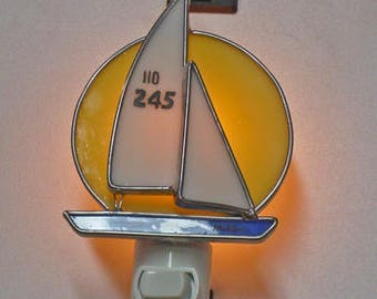 Sailboat NLs 5 Choices - 5 Examples - Stained Glass Night lights - Sailboat Nightlights - Made By Order