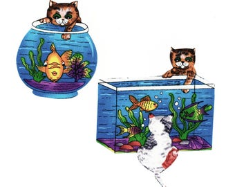 Iron on Fabric Appliqué set - Adorable Cats with Fish Tank Bowl Cute Kittens DIY No Sew Patch