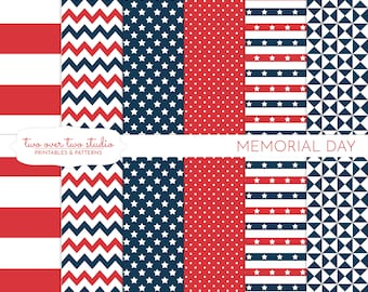 Memorial Day Digital Paper, Commercial Use, Patriotic Digital Paper, Red, White, Blue, Memorial Day Pattern Background, Stars and Stripes