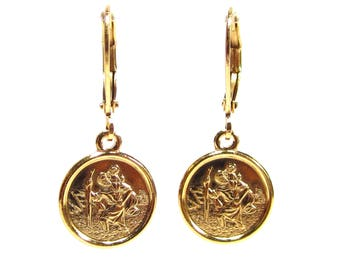 SoHo® leverback earrings christophorus gilded patron saint travel christopher jesus guardian angel made in germany