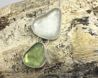 Sea glass double pendant