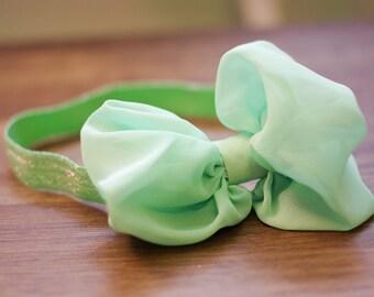Baby Headband, Nylon Headband, Photography Prop, Photo Prop, Newborn Prop, Baby Prop, Baby Girl Prop // Large Mint Green Bow Headband