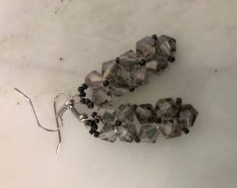 Rock Candy Pendant Earrings in Smoky Charcoal
