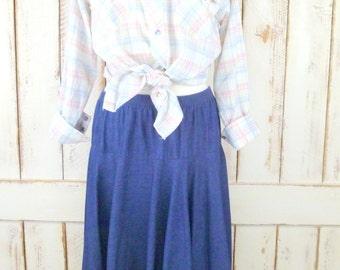 Vintage blue denim full circle jean skirt