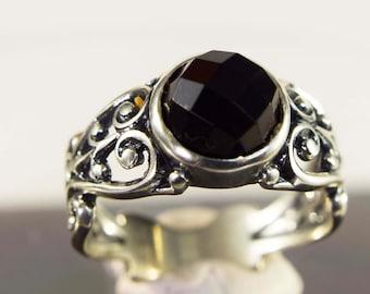 Black Onyx Ring, 8mm Rose Cut Genuine Gemstone, Set in 925 Sterling Silver Filigree Ring