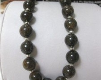 Bronzite and Sterling Silver Beaded Necklace