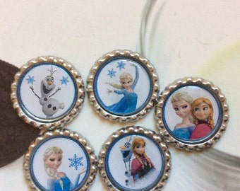 SET of 5 - ELSA/ ANNA and Olaf Bottle Caps For Pendants, Hairbows Hair Bow Centers - Ready to use