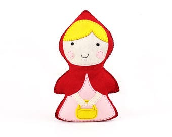 Little Red Riding Hood Sewing Pattern, Stuffed Doll Hand Sewing, Fairy Tale Character, Sew a Felt Red Riding Hood Pattern, Instant Download