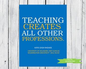 Graduation Gift Teacher custom 8x10 Print PDF