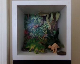 Diorama, shadow box airplant, live airplant diorama, dinosaur shadow box