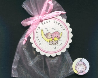 Personalized Baby Girl Baby Shower Favor Candy Bags, Baby Girl Sleeping on Moon, Includes Tags, Candy Stickers, Pink Organza Bags