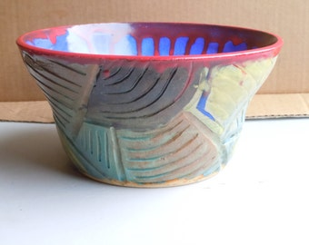 Hand Made Hand Thrown Hand Carved Wheel Thrown Ceramic Pottery Decorative Bowl Fruit Bowl Gift Bowl Large Bowl Medium Bowl Serving Bowl