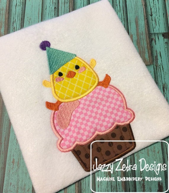 Duck on Cupcake Birthday Appliqué embroidery Design - Chick on Cupcake Birthday Appliqué embroidery Design - birthday appliqué design