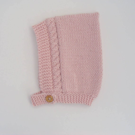 Cable Knit Pixie Hat in Pink Merino/Silk/Cashmere Wool - Size 6-12 months - Ready to Ship