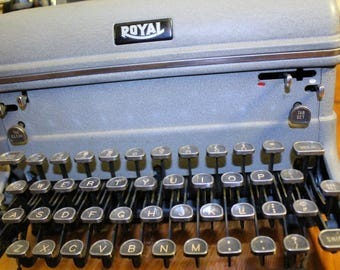 Vintage Royal Touch Control Typewriter With Glass Keys Grey