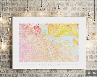 Amsterdam Map - City Street Map of Amsterdam Holland - Art Print Watercolor Illustration Wall Art Home Decor Gift - Nature Series PRINT