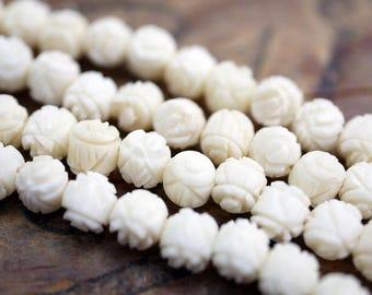 Carved Rose Bead 5mm Rose Bead Cream Color Rose Bead Ox Bone Bead Old Hong Kong Stock (24) SV40