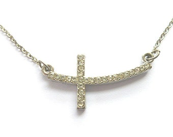 Reversible SIDEWAYS Silver CROSS Choker Necklace, Sideways Rhinestone Cross, Vintage Silvertone Cross Necklace, Two in One Cross Necklace