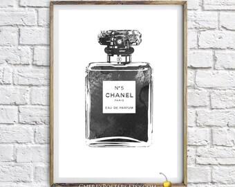Chanel perfume - Watercolor Print - Bathroom decor, Chanel watercolor, perfume bottle print, black print, perfume illustration, Coco Chanel.