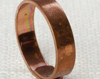 Simple Copper Ring Vintage Metal Ring | Copper Tone Metal Plain Cut Band Womens Adjustable Size 5mm Wide 7RI