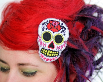 Sugar Skull Hair Clip, Day of the Dead, White