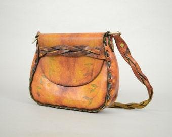 60's Braided Leather Saddle Bag